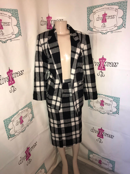 Vintage Rocky Black/White Plaid 2 Piece Skirt Set Size S-M