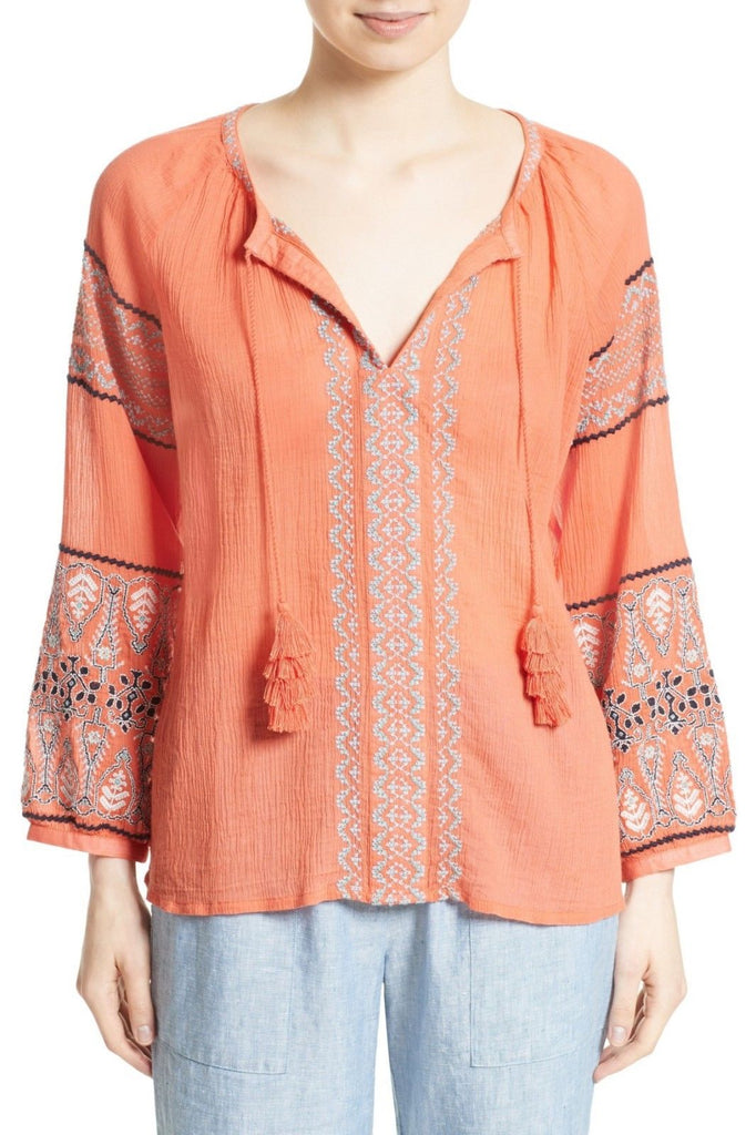8772c81d84186 Joie  Nelida  Embroidered Gauzey-Cotton Tunic Blouse