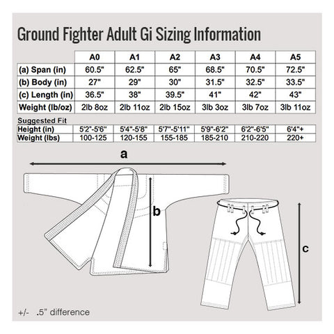 Ground Fighter Fly Light Gi Size Chart