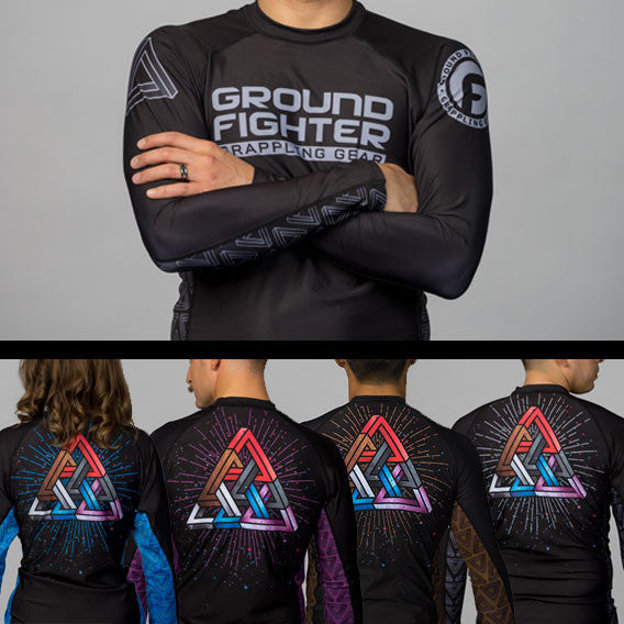 Ground Fighter BJJ Triangle Pyramid Ranked Rashguards