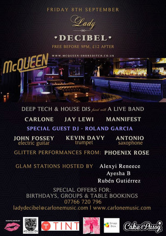 Lady Decibel x Cake & Pussy McQueen Flyer - 8th September 2017