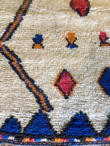 Azilal Moroccan Rug in Cobalt and Coral • 3.8 x 6.10