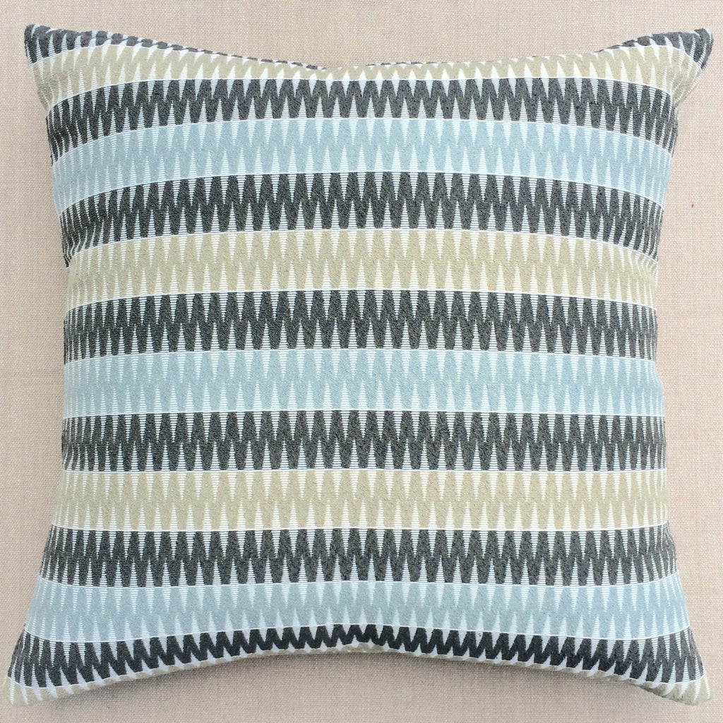 Square Blue Green Zig Zag Pillow