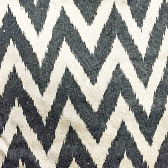 Vintage Silk Turkish Ikat • Black Chevron