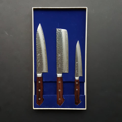 Hitohira Imojiya HG Tsuchime Kitchen Knife Set (Petty 135mm, Nakiri & Gyuto 180mm)