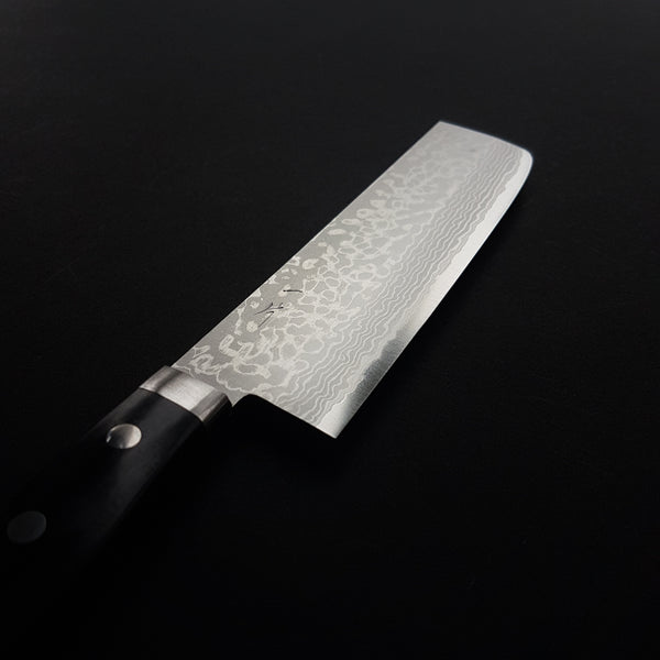 Hitohira NM V10 Damascus Nakiri 165mm Pakka Handle