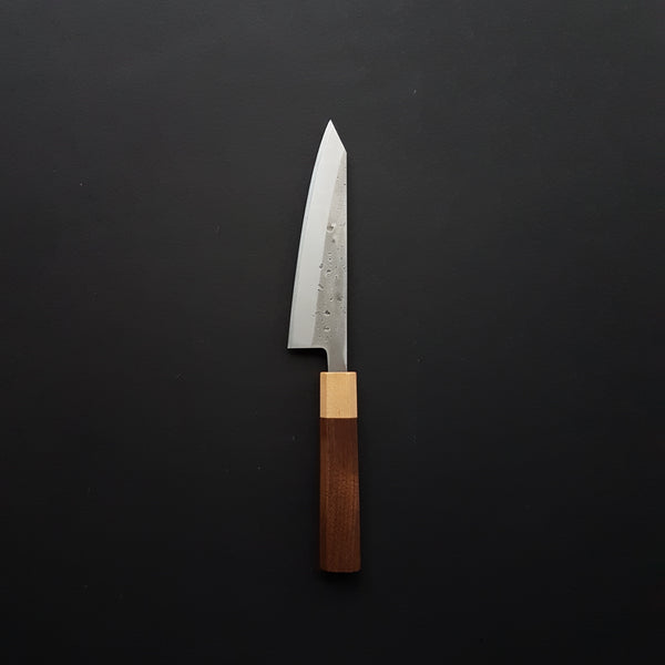 Hitohira TD Blue #2 Stainless Clad Nashiji Honesuki Kaku 150mm Walnut Handle