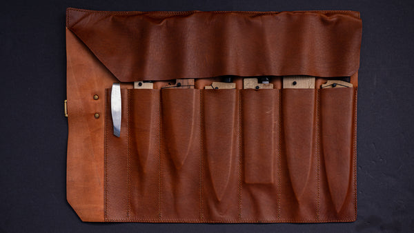HI-CONDITION Custom Made 6 Pockets Leather Knife Roll