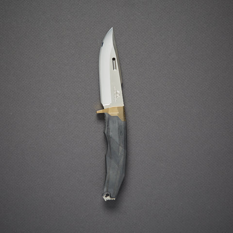 Rockstead RITSU - ZDP (Gold) Fixed Blade 95mm Wood Micarta/Gold Titanium Handle