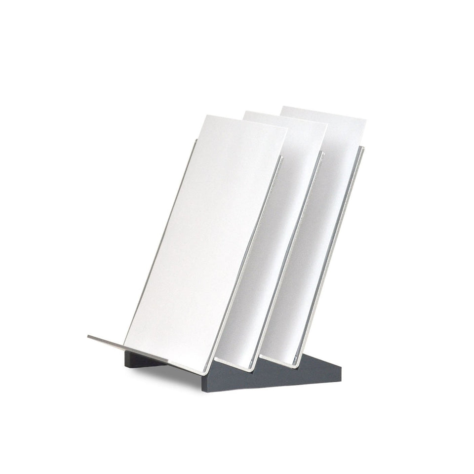 Waves vertical file organizer by Urbann - side view with paper