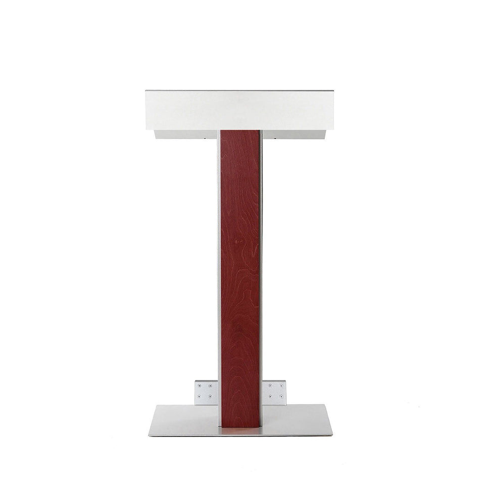 Y55 lectern / podium from Urbann Products - Mahogany - with wheels front view