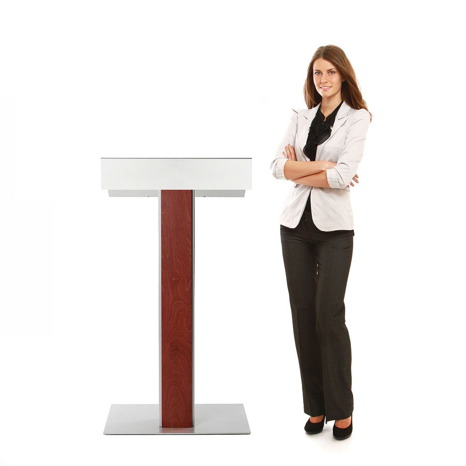 Y55 lectern / podium from Urbann Products - Mahogany - with woman