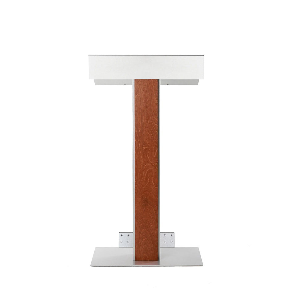 Y55 lectern / podium with tilt-back wheels system from Urbann Products - Whisky - front view