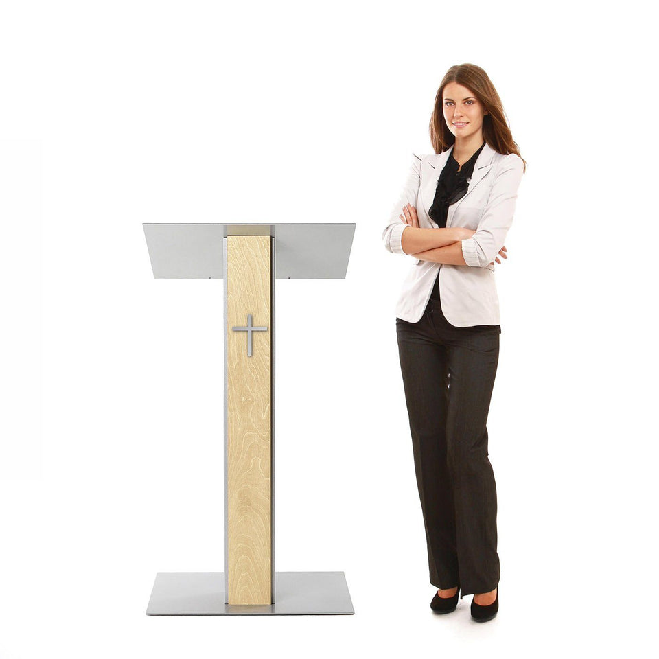 Y5 lectern / podium from Urbann Products - Natural wood - side view - with woman