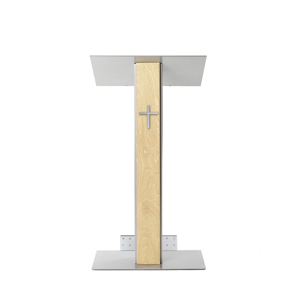 Y5 lectern / podium from Urbann Products - Natural wood - with wheels front view - with cross