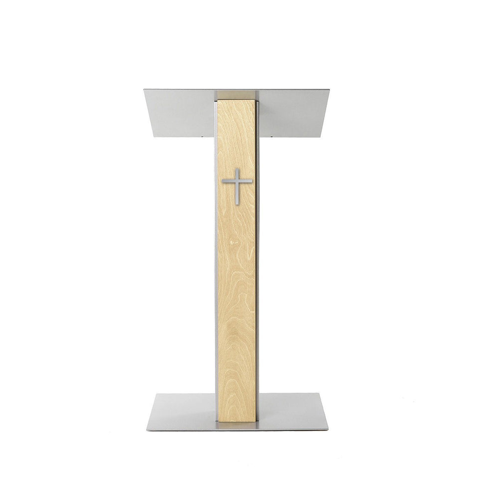 Y5 lectern / podium from Urbann Products - Natural wood - front view - with cross