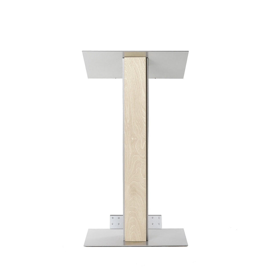 Y5 lectern / podium from Urbann Products - Unfinished wood - with wheels front view