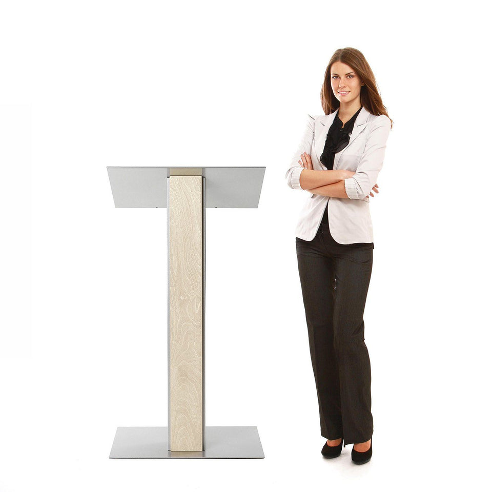 Y5 lectern / podium from Urbann Products - unfinished wood - with woman