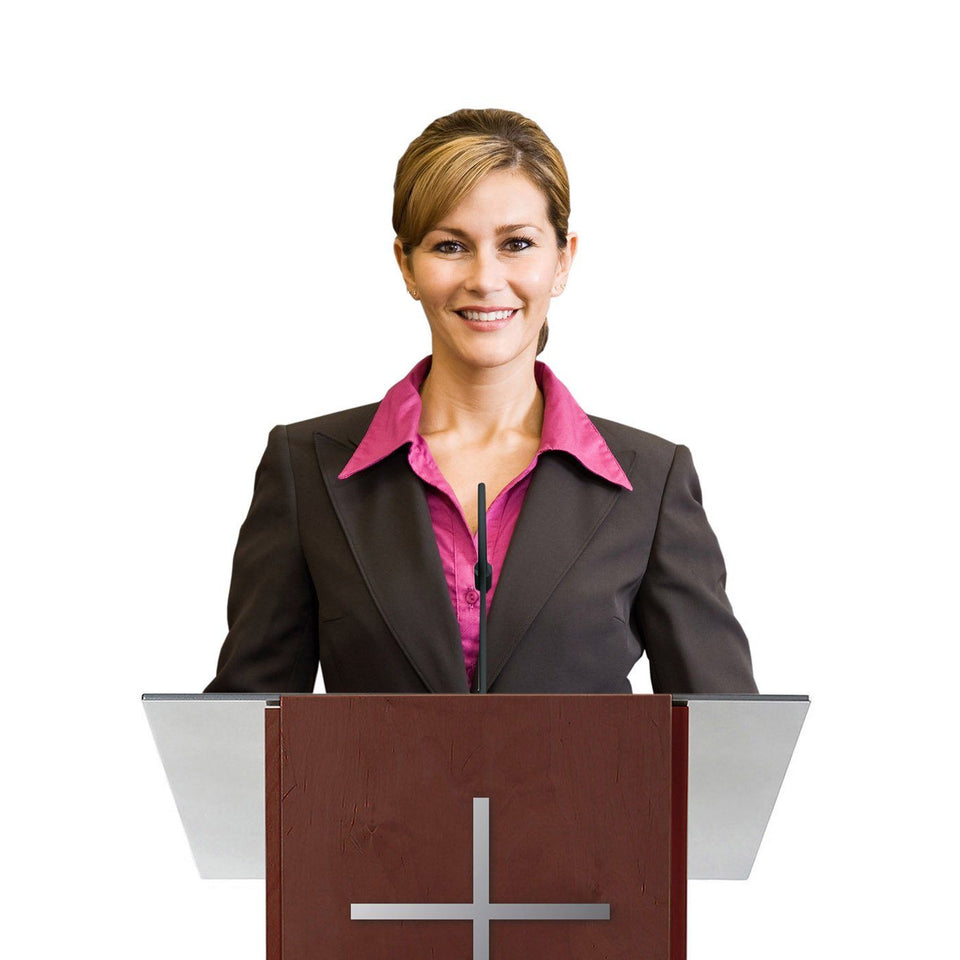 Woman behind a K2 lectern Full Mahogany / wooden podium from Urbann Products - with cross