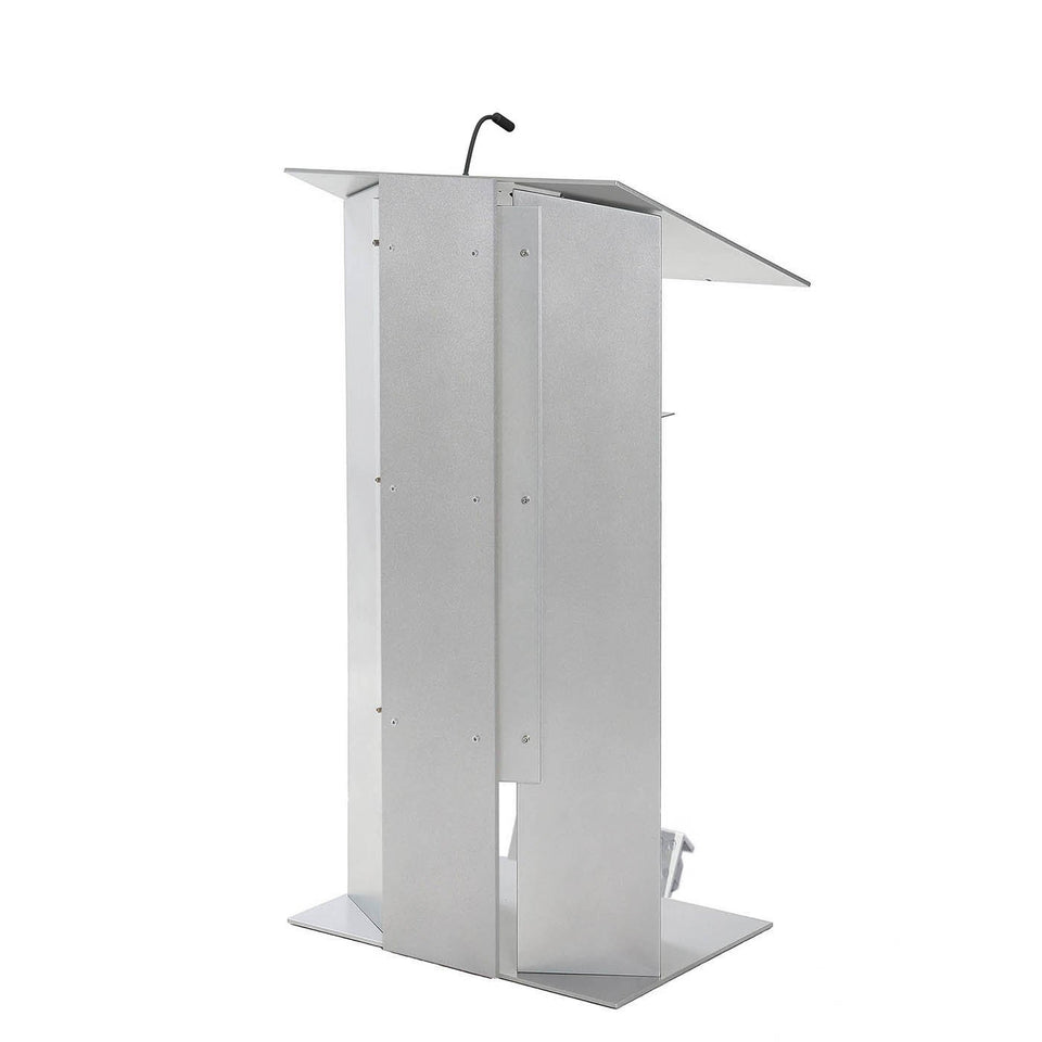 K6 All aluminum lectern / podium with wheels from Urbann Products side view