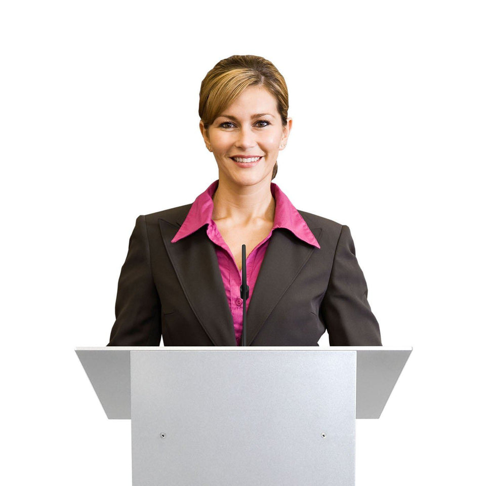 K8 Tabletop lectern / podium from Urbann Products with woman