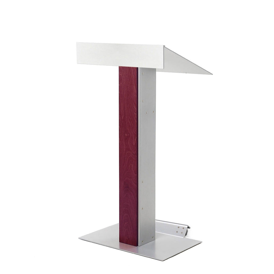Y55 lectern / podium from Urbann Products - Mahogany - with wheels side view