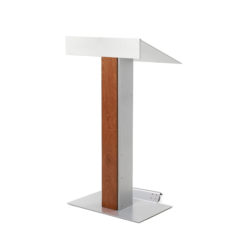 Y55 lectern / podium with tilt-back wheels system from Urbann Products - Whisky - side view