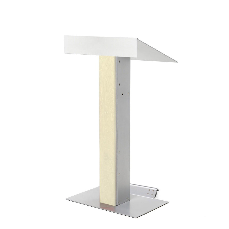 Y55 lectern / podium with tilt-back wheels system from Urbann Products - Unfinished wood - side view