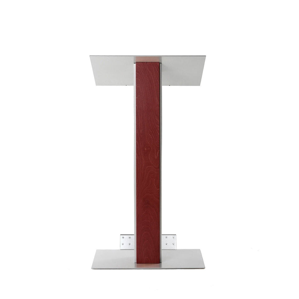 Y5 lectern / podium from Urbann Products - Mahogany - with wheels front view