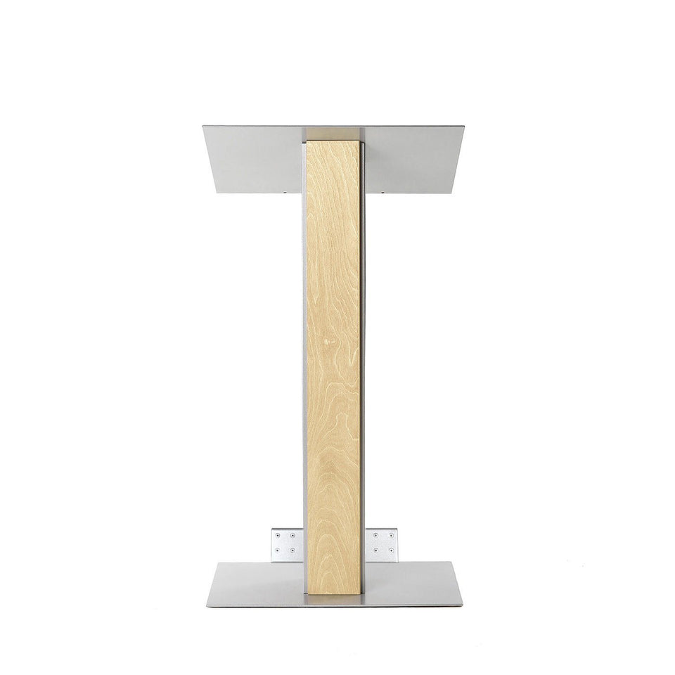 Y5 lectern / podium from Urbann Products - Natural wood - with wheels front view