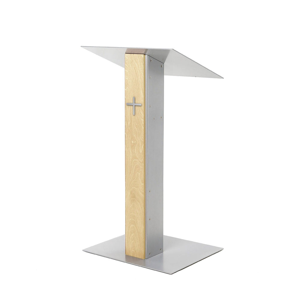 Y5 lectern / podium from Urbann Products - Natural wood - side view - with cross