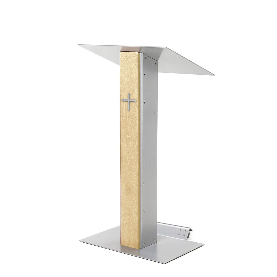 Y5 lectern / podium from Urbann Products - Natural wood - with wheels side view - with cross