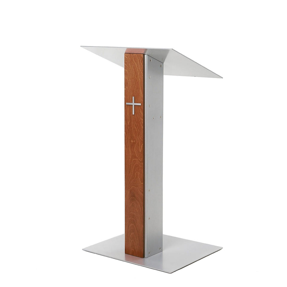 Y5 lectern / podium from Urbann Products - Whisky - side view - with cross