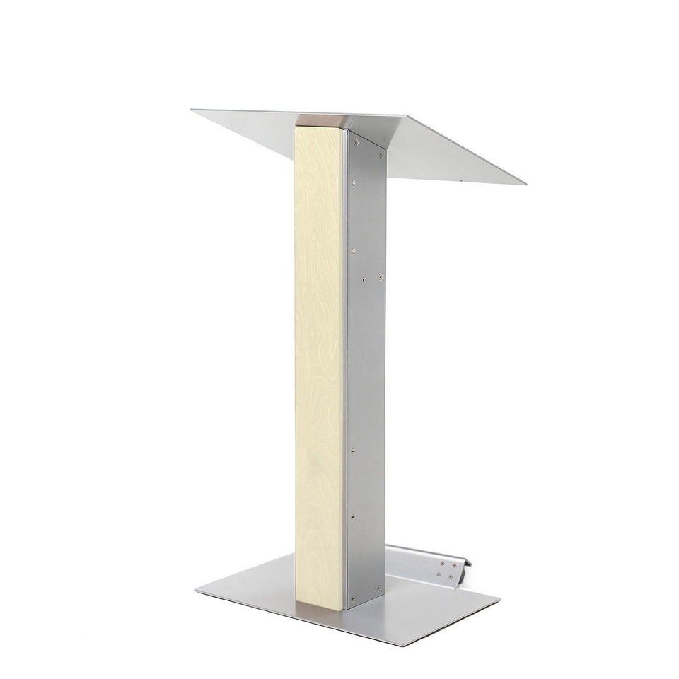 Y5 lectern / podium from Urbann Products - Unfinished wood - with wheels side view