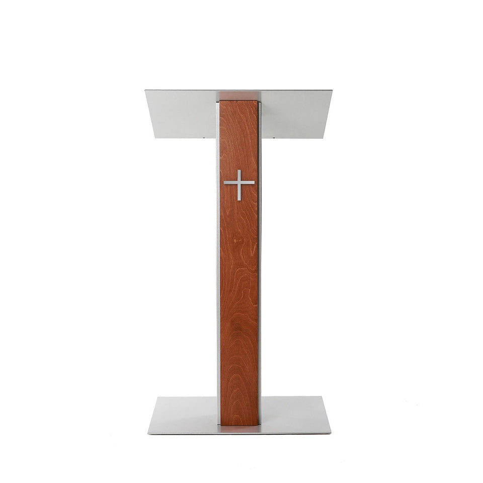Y5 lectern / podium from Urbann Products front view - with cross
