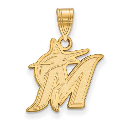 Miami Marlins Medium Pendant 14k Gold Plate