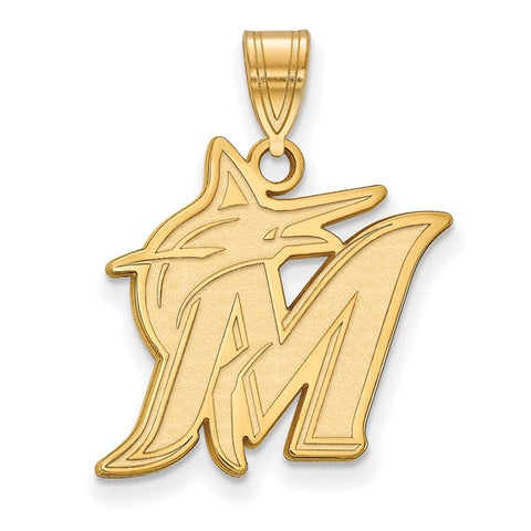 Miami Marlins Large Pendant 14k Gold Plate