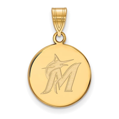 Miami Marlins Medium Disc Pendant 14k Gold Plate
