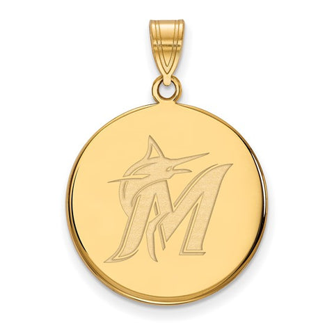Miami Marlins Large Disc Pendant 14k Gold Plate