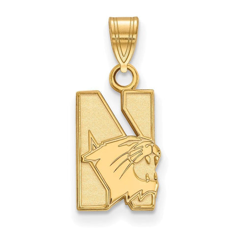 Northwestern Wildcats Small Pendant 14k Yellow Gold