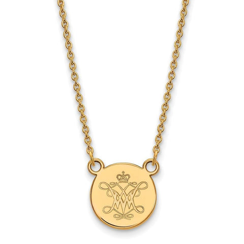 William And Mary Small Disc Pendant 14k Gold Plate
