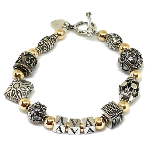Ornate Bali Bead & Gold Filled Mommy Bracelet
