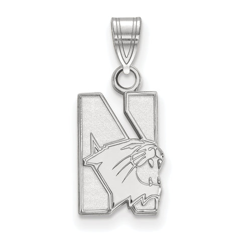 Northwestern Wildcats Small Pendant 10k White Gold