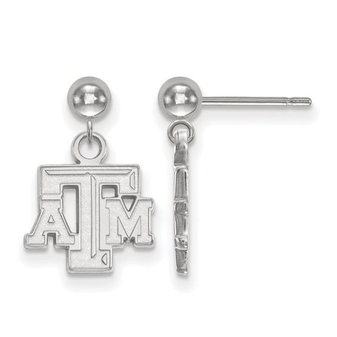 Texas A&M Aggies Earring Dangle Ball 14k White Gold