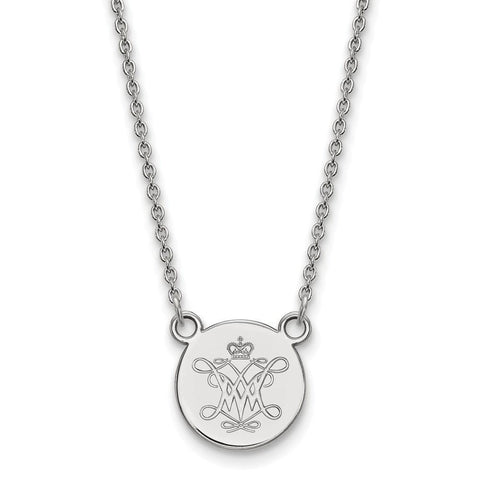 William And Mary Small Disc Pendant Sterling Silver