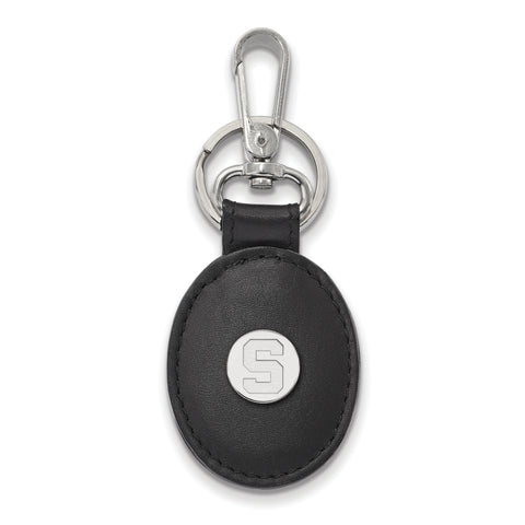 Michigan State Spartans Black Leather Oval Key Chain
