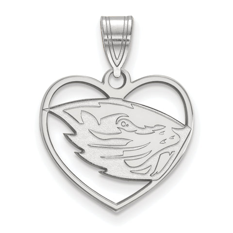 Oregon State Beavers Pendant in Heart Sterling Silver