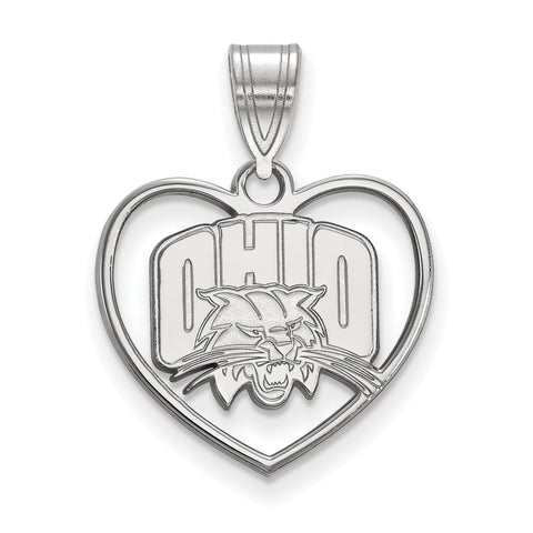 Ohio Bobcats Pendant in Heart Sterling Silver