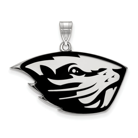 Oregon State Beavers Large Enamel Pendant Sterling Silver