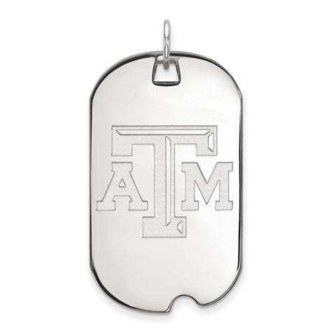 Texas A&M Aggies Large Dog Tag 10k White Gold